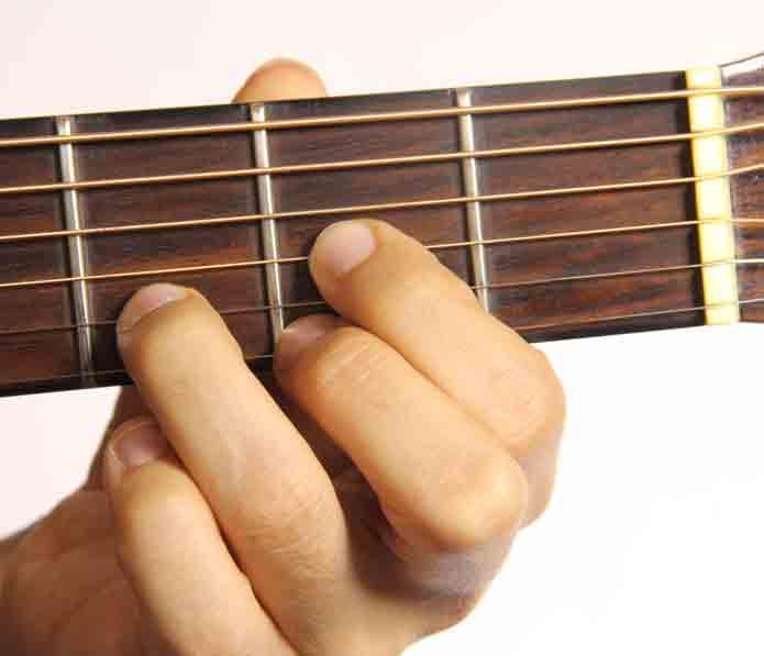 como hacer el acorde re en la guitarra